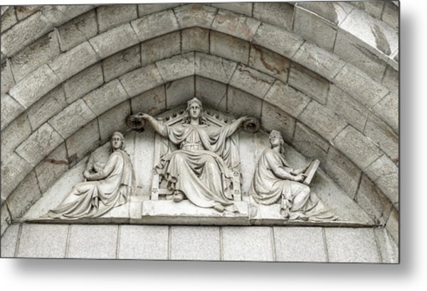 Metal Print featuring the photograph Decorated Sculpture On Plymouth Guildhall Building by Jacek Wojnarowski