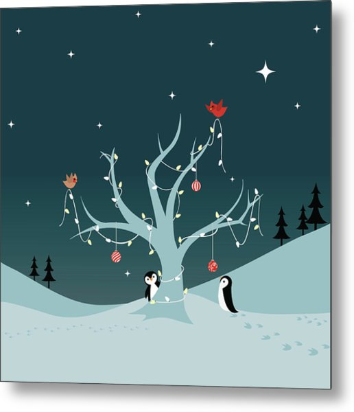 Decorating The Tree Metal Print by Lumpynoodles