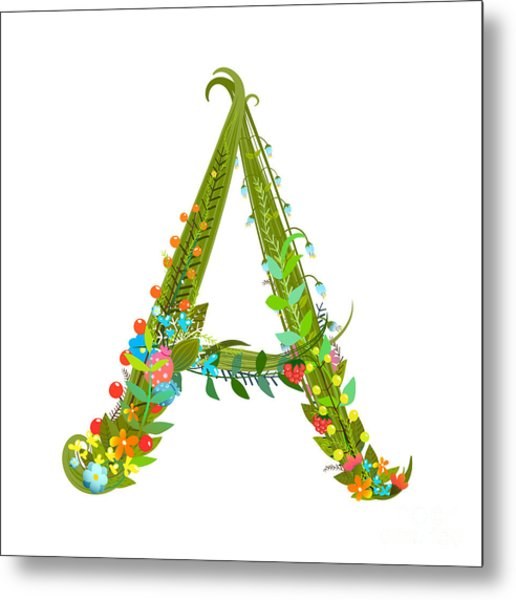 Decorative Botanical Elegant Alphabet Metal Print