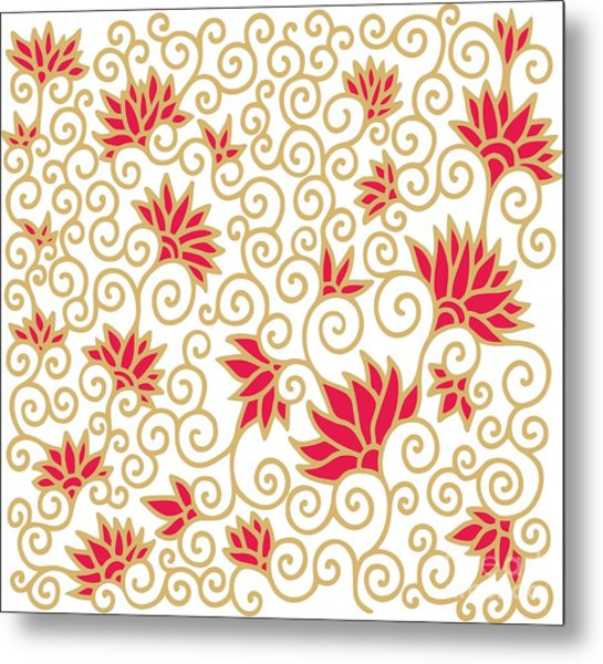 Decorative Floral Composition With Metal Print by Aniana