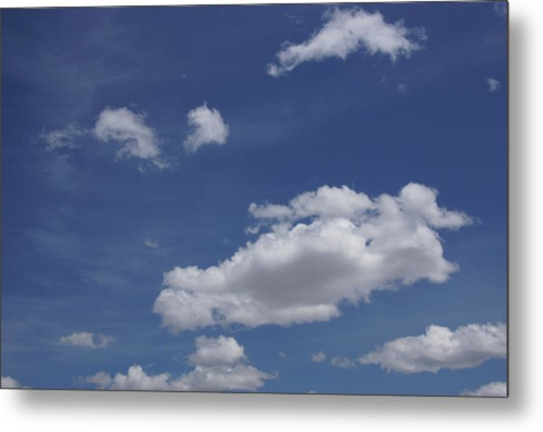 Deep Blue Sky And Fluffy Cumulous Cloud Metal Print