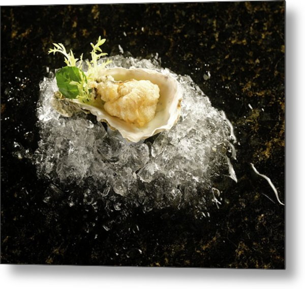 Deep Fried Oyster In Shell On Ice Metal Print