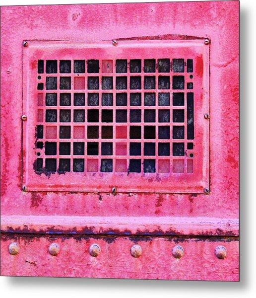 Deep Pink Train Engine Vent Square Format Metal Print