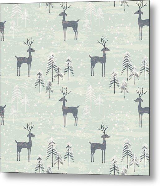 Deer In Winter Pine Forest. Seamless Metal Print