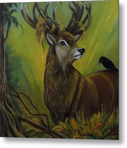 Deer Stag And The Crow Metal Print by Janet Silkoff