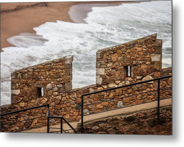 Defensive Stone Wall Battlement By The Sea Metal Print