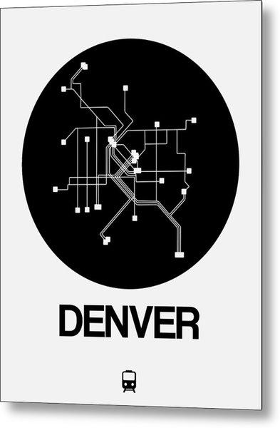 Denver Black Subway Map Metal Print