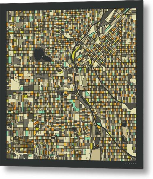 Denver Map 2 Metal Print