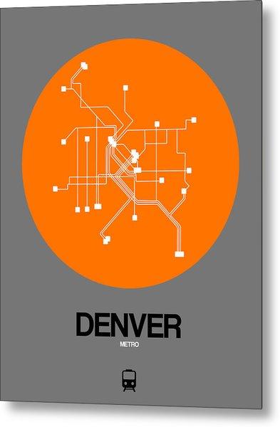 Denver Orange Subway Map Metal Print