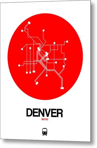 Denver Red Subway Map Metal Print