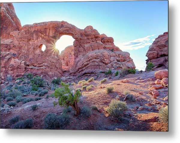 Desert Sunset Arches National Park Metal Print