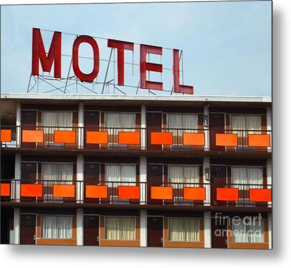 Detail Of A An Old Motel Sign Atop An Metal Print