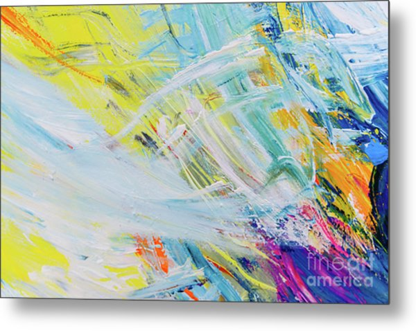 Detail Of Brush Strokes Of Random Colors To Use As Background An Metal Print