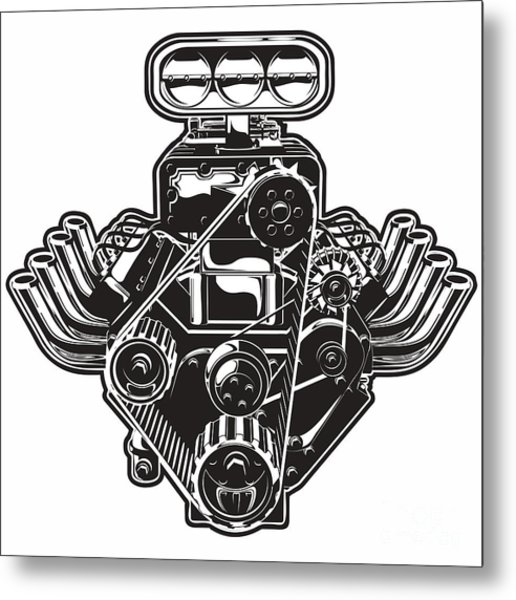 Detailed Cartoon Turbo Engine Metal Print