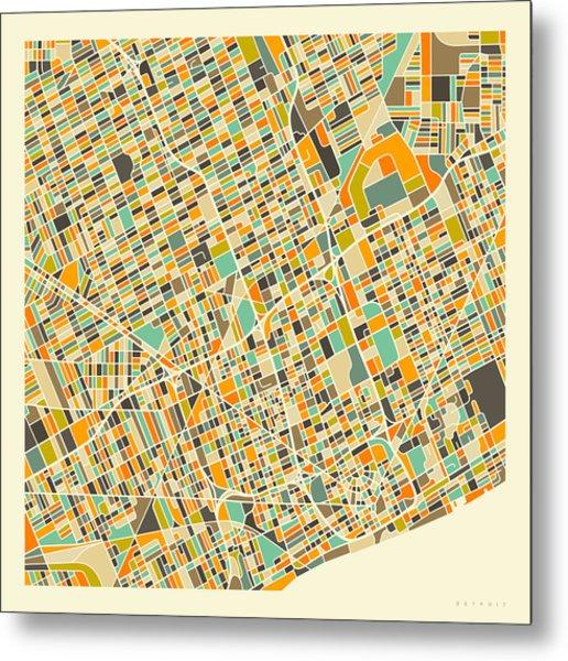 Detroit Map 1 Metal Print