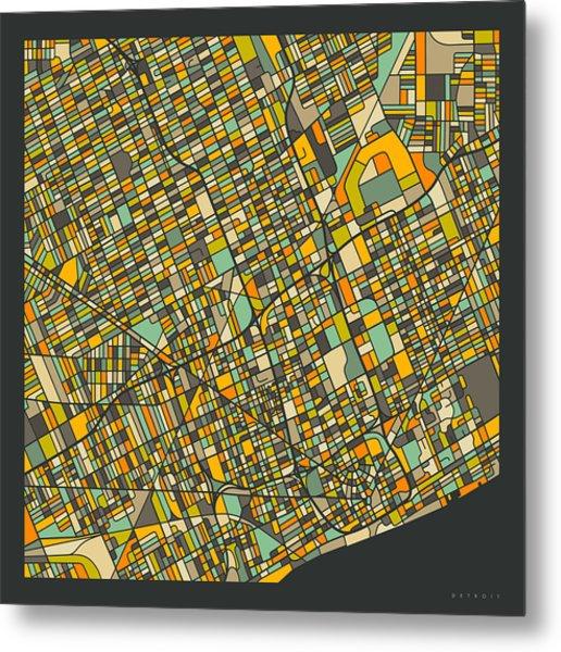 Detroit Map 2 Metal Print