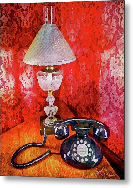 Metal Print featuring the painting Dial Up Telephone by Joan Reese