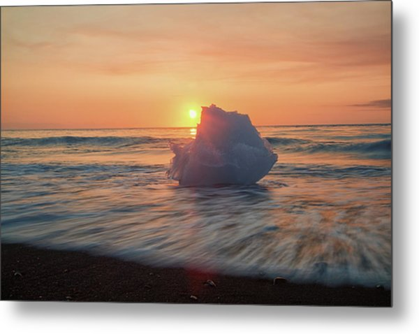 Diamond Beach Sunrise Iceland Metal Print