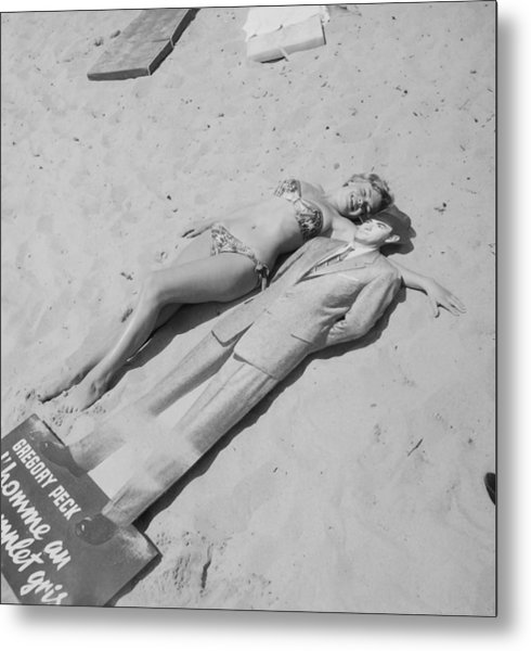 Diana Dors Lying On The Beach At Cannes Metal Print