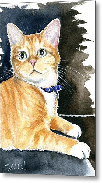 Diego Ginger Tabby Cat Painting Metal Print