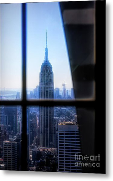 Digital Flare Empire State Building Nyc  Metal Print