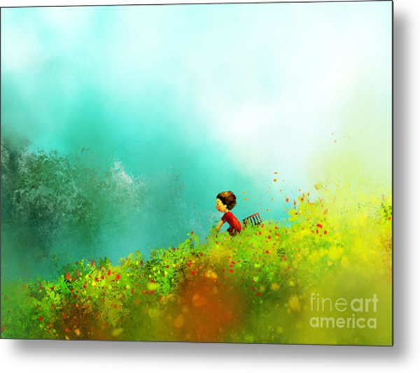 Digital Painting Of Girl In Red Dress Metal Print