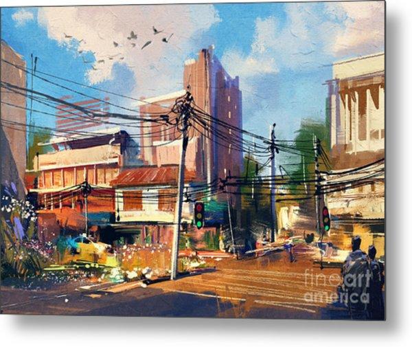 Digital Painting Of Street Scene With Metal Print