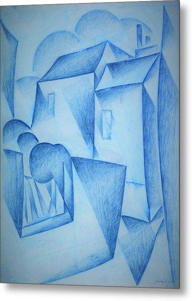 Digital Remastered Edition - Houses In Paris, Place Ravignan - Original Blue Metal Print