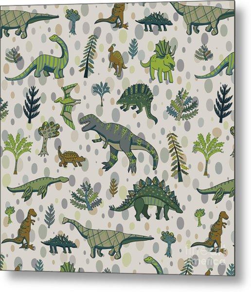 Dinosaur Pattern Metal Print by Goosefrol