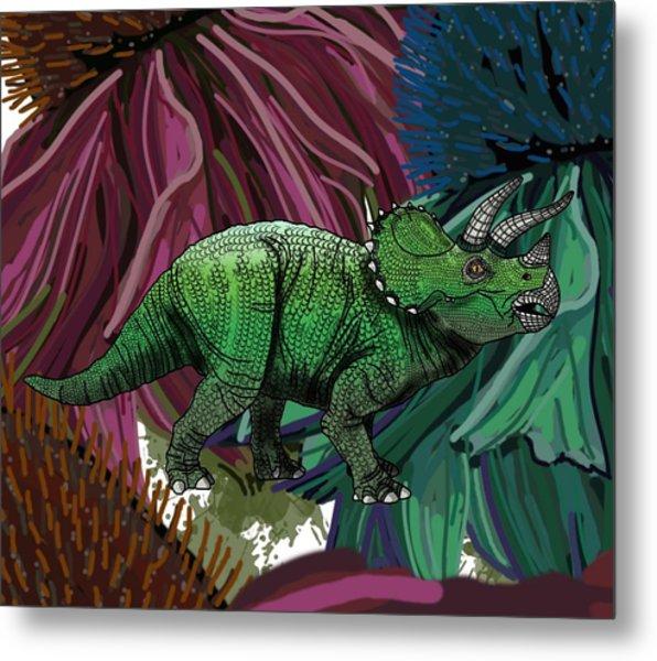 Dinosaur Triceratops Flowers Metal Print