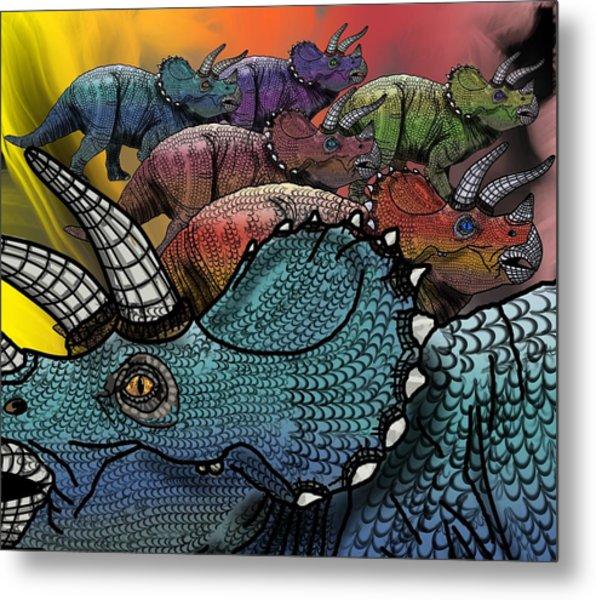 Dinosaur Triceratops Herd Metal Print