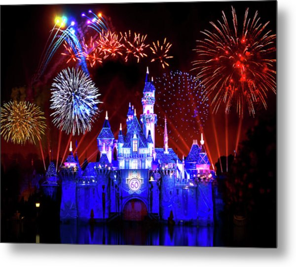Disneyland 60th Anniversary Fireworks Metal Print