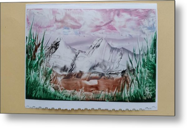 Distant Impressionistic Mountains Metal Print