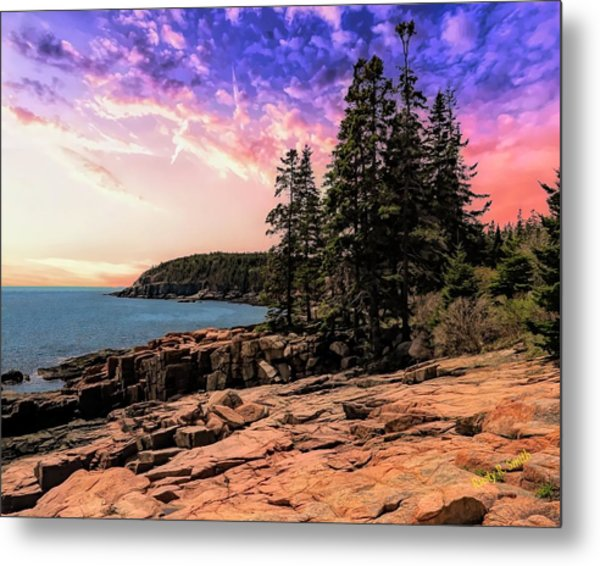 Distant View Of Otter Cliffs,acadia National Park,maine. Metal Print