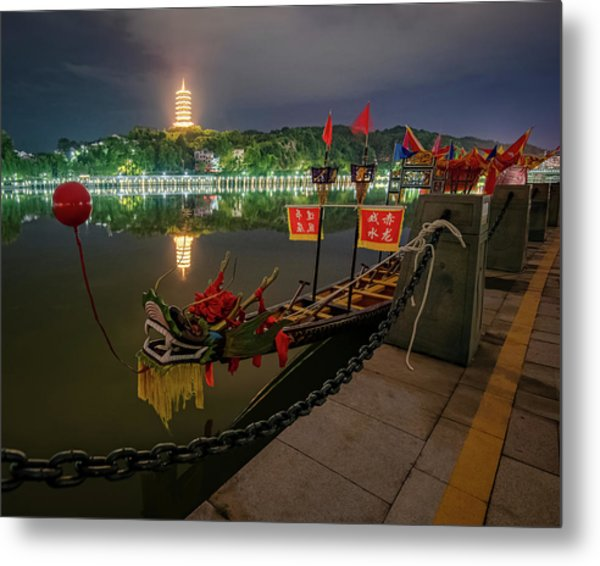 Metal Print featuring the photograph Docked Dragon Boat At Night I by William Dickman