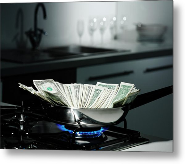 Dollar Bills In Frying Pan On Stove Metal Print by Walter Zerla