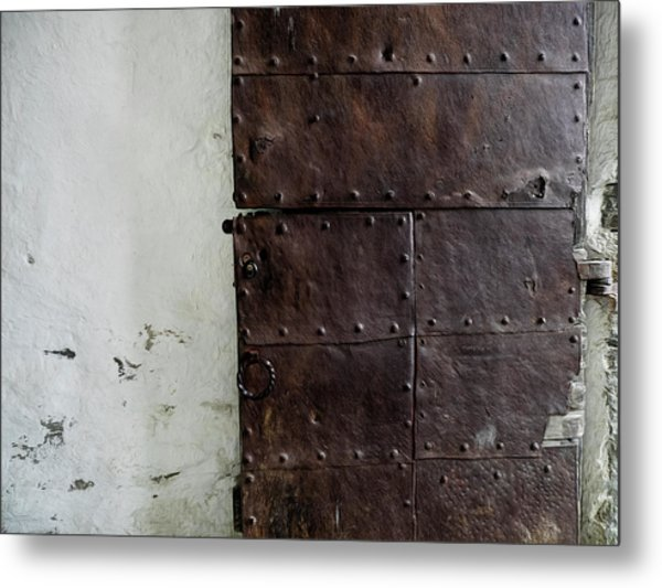 Door At Kristiansten Fortress In Trondheim, Norway Metal Print