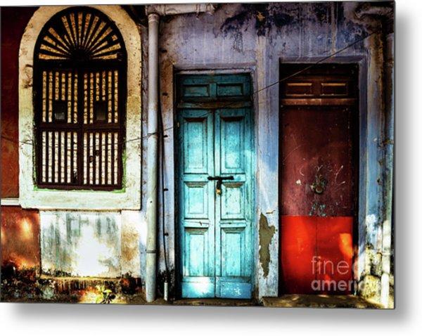 Doors Of India - Blue Door And Red Door Metal Print