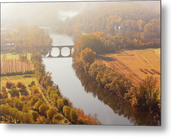 Dordogne River In The Mist Metal Print