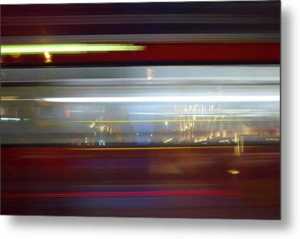 Double Decker Bus Blur 2 Metal Print