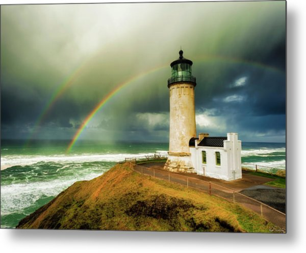 Double Rainbow At North Head Lighthouse Metal Print
