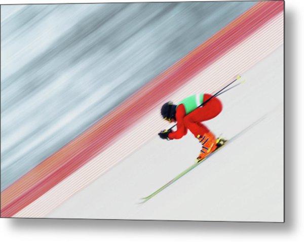 Downhill Ski Racer Speeding Down Metal Print