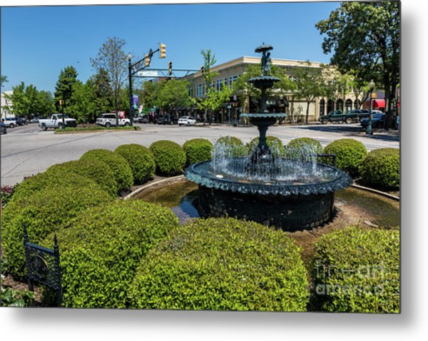 Downtown Aiken Sc Fountain Metal Print