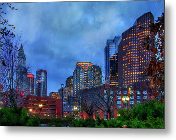 Metal Print featuring the photograph Downtown Boston Skyline At Night by Joann Vitali