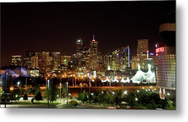 Metal Print featuring the photograph Downtown Denver At Night by Chance Kafka
