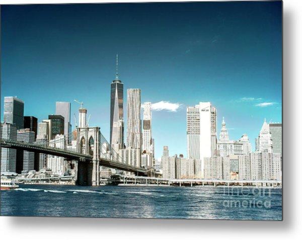 Downtown Manhattan View From Dumbo Metal Print by John Rizzuto