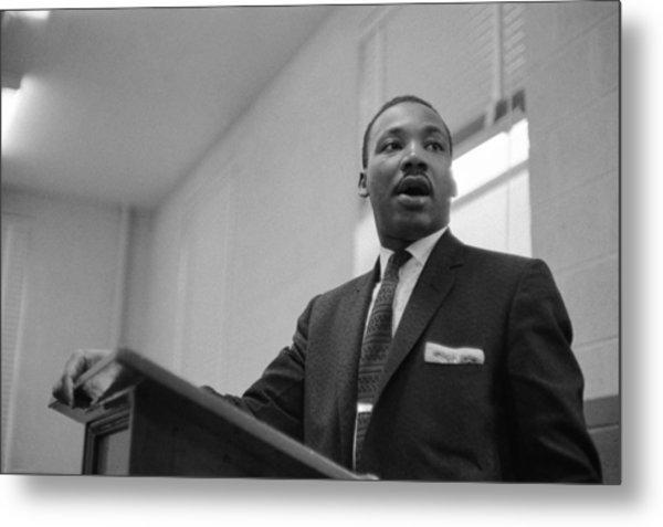 Dr. King Addresses Meeting Metal Print