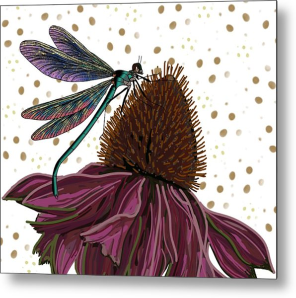 Dragon Fly And Echinacea Flower Metal Print