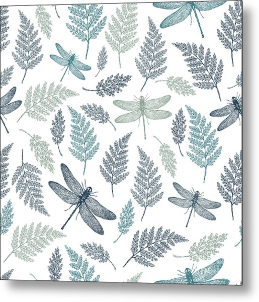 Dragonfly Seamless Pattern. Fern Metal Print