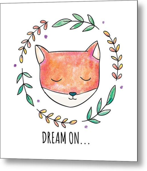 Dream On - Boho Chic Ethnic Nursery Art Poster Print Metal Print